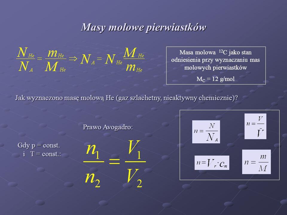 Masy molowe pierwiastków Masa molowa 12 C jako stan odniesienia przy wyznaczaniu mas molowych pierwiastków M C = 12 g/mol Jak wyznaczono masę molową He (gaz szlachetny, nieaktywny chemicznie).