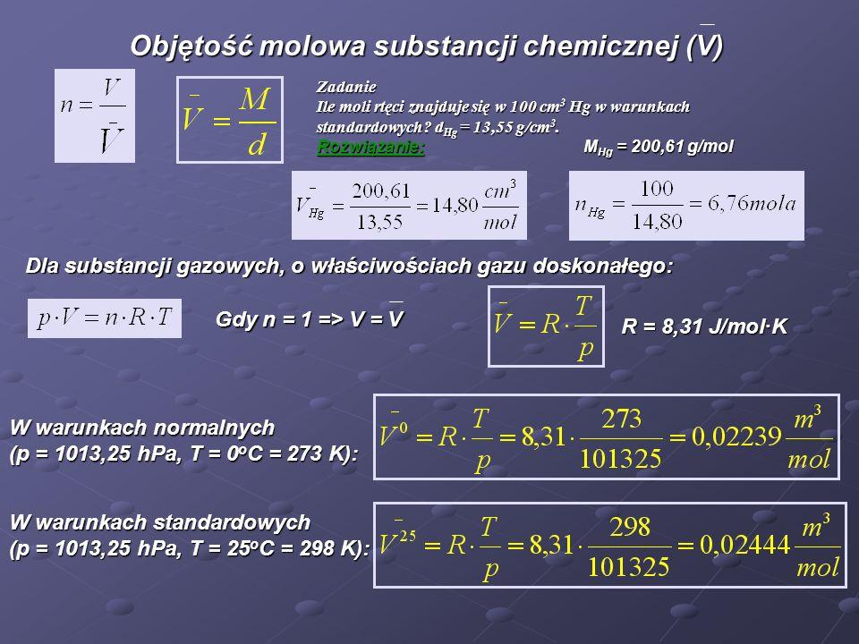 Objętość molowa substancji chemicznej (V) Objętość molowa substancji chemicznej (V) Zadanie Ile moli rtęci znajduje się w 100 cm 3 Hg w warunkach standardowych.
