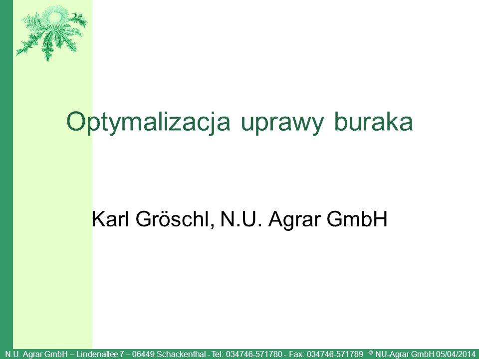 N.U. Agrar GmbH – Lindenallee 7 – 06449 Schackenthal - Tel: 034746-571780 - Fax: 034746-571789 © NU-Agrar GmbH 05/04/2014 Optymalizacja uprawy buraka
