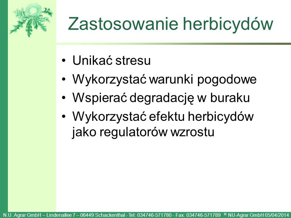 Zastosowanie herbicydów Unikać stresu Wykorzystać warunki pogodowe Wspierać degradację w buraku Wykorzystać efektu herbicydów jako regulatorów wzrostu