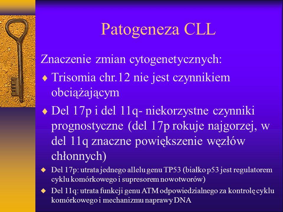 Patogeneza CLL Immunoglobuliny powierzchniowe: Łańcuchy lekkie kappa u 60% chorych, lambda u 40% chorych Łańcuchy ciężkie IgD i IgM u ponad 50%, tylko łańcuchy ciężkie IgM u 25% chorych Heterogenność części zmiennej łańcuchów ciężkich (IgVH) –Chorzy z mutacjami IgVH- łagodny przebieg choroby –Chorzy bez mutacji IgVH- agresywny przebieg choroby –Markery mutacji IgVH: ekspresja CD38 ( w >30% limfocytów- brak mutacji IgVH), ekspresja ZAP70 (w >20% limfocytów – brak mutacji IgVH)