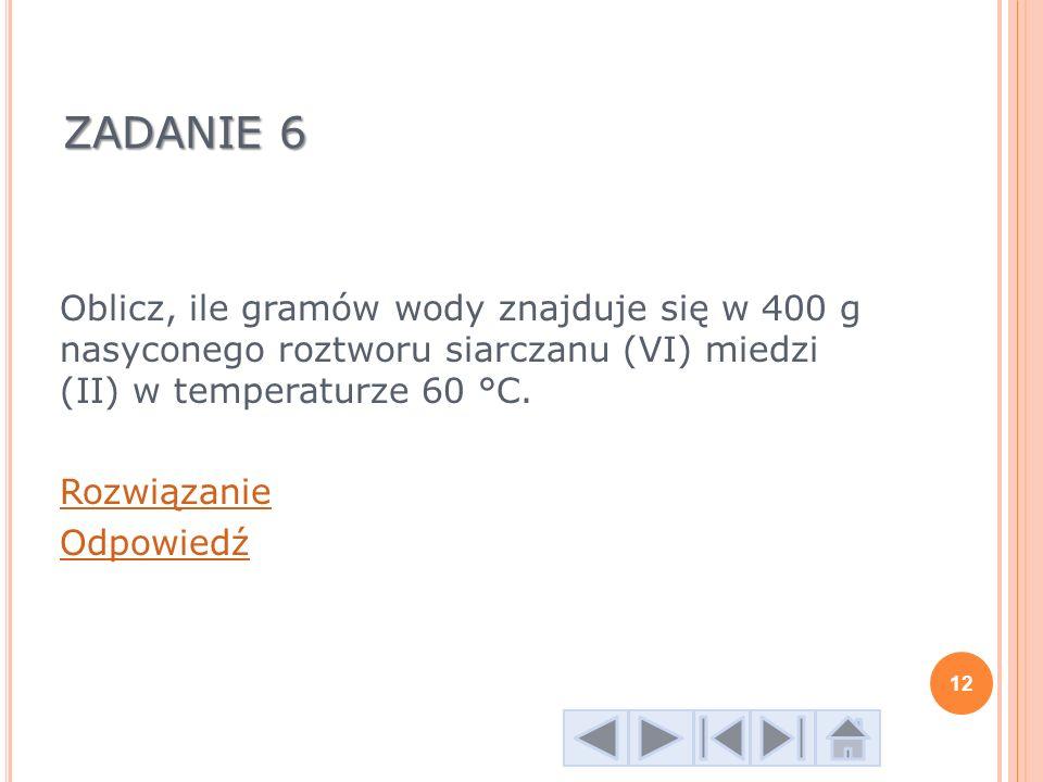 ZADANIE 6 Oblicz, ile gramów wody znajduje się w 400 g nasyconego roztworu siarczanu (VI) miedzi (II) w temperaturze 60 °C. Rozwiązanie Odpowiedź 12