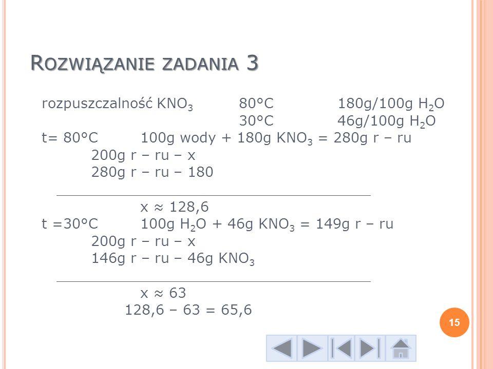 R OZWIĄZANIE ZADANIA 3 rozpuszczalność KNO 3 80°C180g/100g H 2 O 30°C46g/100g H 2 O t= 80°C 100g wody + 180g KNO 3 = 280g r – ru 200g r – ru – x 280g