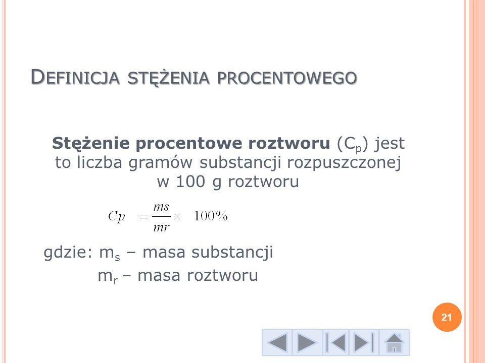 D EFINICJA STĘŻENIA PROCENTOWEGO Stężenie procentowe roztworu (C p ) jest to liczba gramów substancji rozpuszczonej w 100 g roztworu gdzie: m s – masa