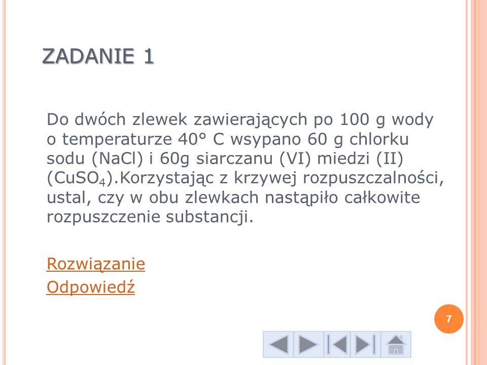 Z ADANIE 7 Oblicz stężenie procentowe roztworu o gęstości d= 1,25g /cm 3, jeżeli wiesz, że w 400 cm 3 roztworu znajduje się 50g substancji rozpuszczonej.
