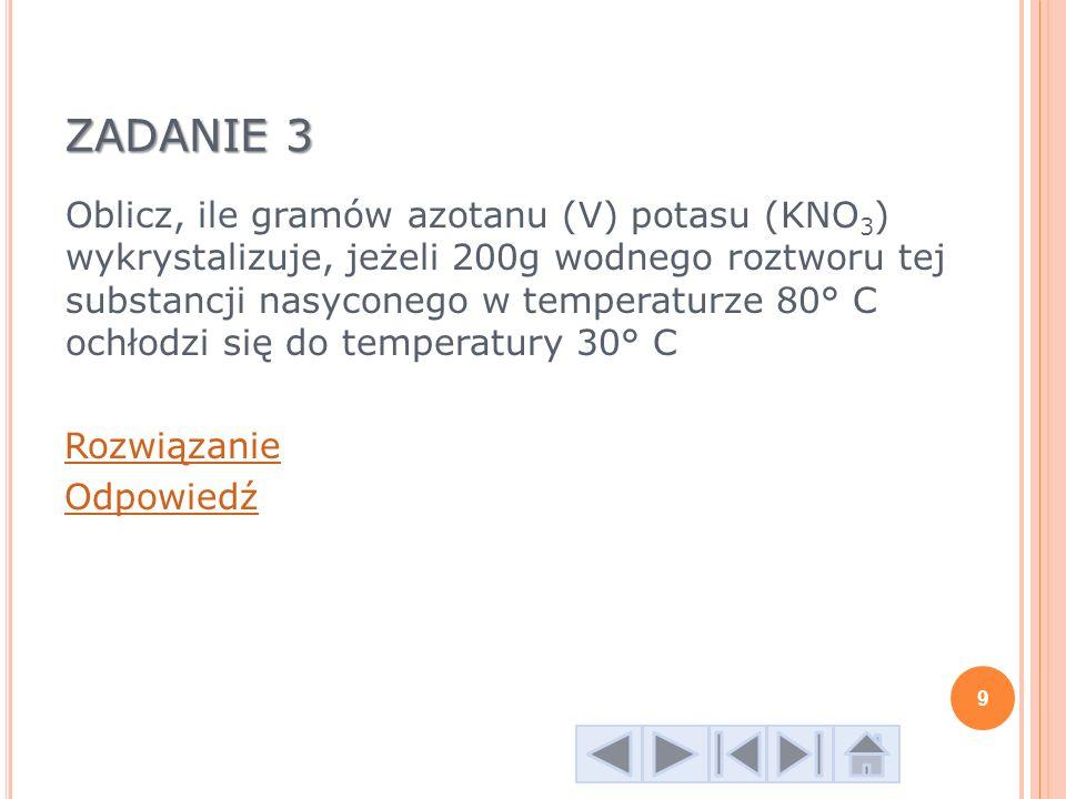 ZADANIE 4 Oblicz, ile gramów azotanu (V) sodu (NaNO 3 ) trzeba do sporządzenia 300 g wodnego roztworu nasyconego w temperaturze 50 º C.