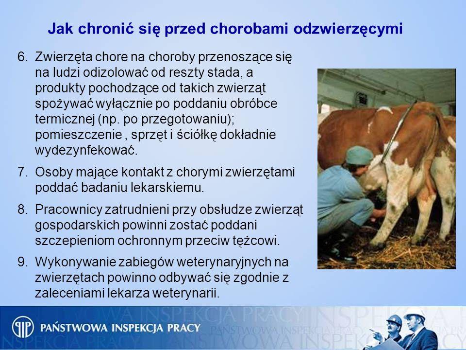 6.Zwierzęta chore na choroby przenoszące się na ludzi odizolować od reszty stada, a produkty pochodzące od takich zwierząt spożywać wyłącznie po podda