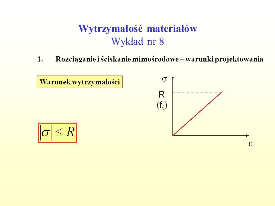 Wytrzymałość materiałów Wykład nr 8 1.Rozciąganie i ściskanie mimośrodowe – warunki projektowania Przyjęto h=25 cm Spr.