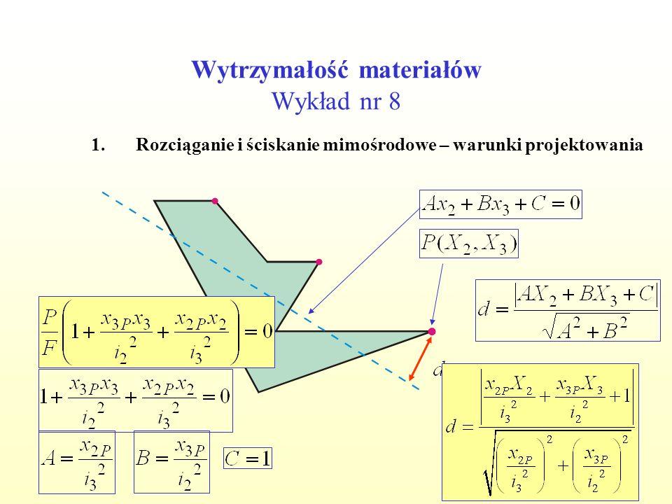 Wytrzymałość materiałów Wykład nr 8 1.Rozciąganie i ściskanie mimośrodowe – warunki projektowania Zadanie: Zaprojektować kwadratowy przekrój belki.