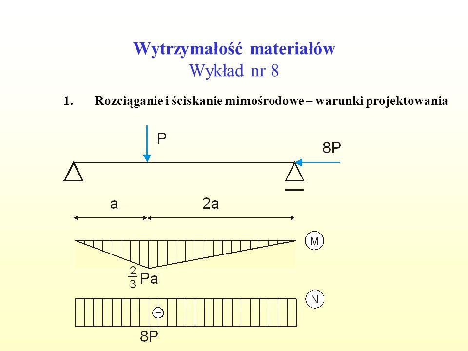 Wytrzymałość materiałów Wykład nr 8 1.Rozciąganie i ściskanie mimośrodowe – warunki projektowania Przyjęto t=7.5 cm Spr.