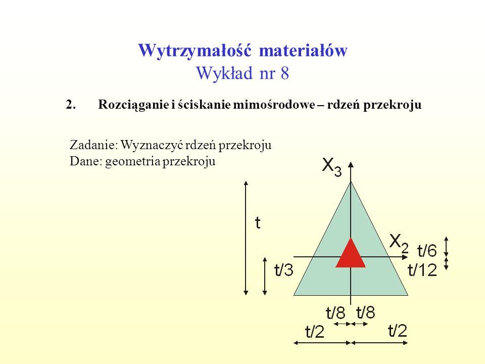 Wytrzymałość materiałów Wykład nr 8 2.Rozciąganie i ściskanie mimośrodowe – rdzeń przekroju Zadanie: Wyznaczyć rdzeń przekroju Dane: geometria przekro