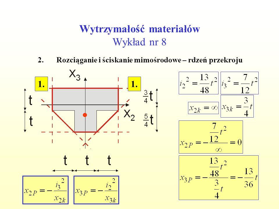 Wytrzymałość materiałów Wykład nr 8 2.Rozciąganie i ściskanie mimośrodowe – rdzeń przekroju 1.