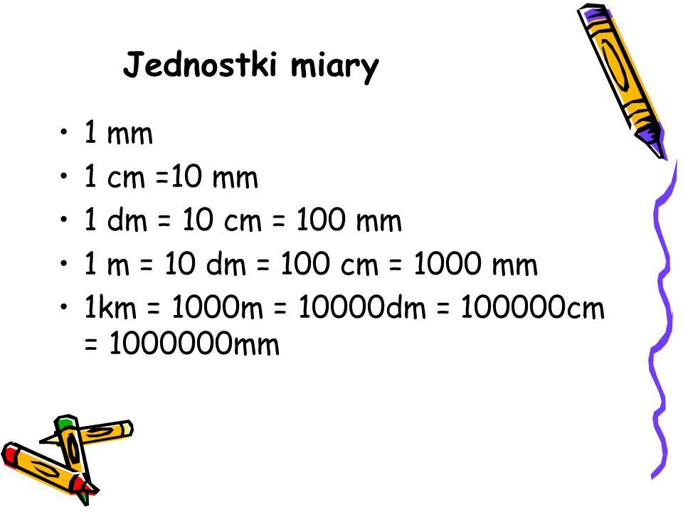1 mm 1 cm =10 mm 1 dm = 10 cm = 100 mm 1 m = 10 dm = 100 cm = 1000 mm 1km = 1000m = 10000dm = 100000cm = 1000000mm Jednostki miary
