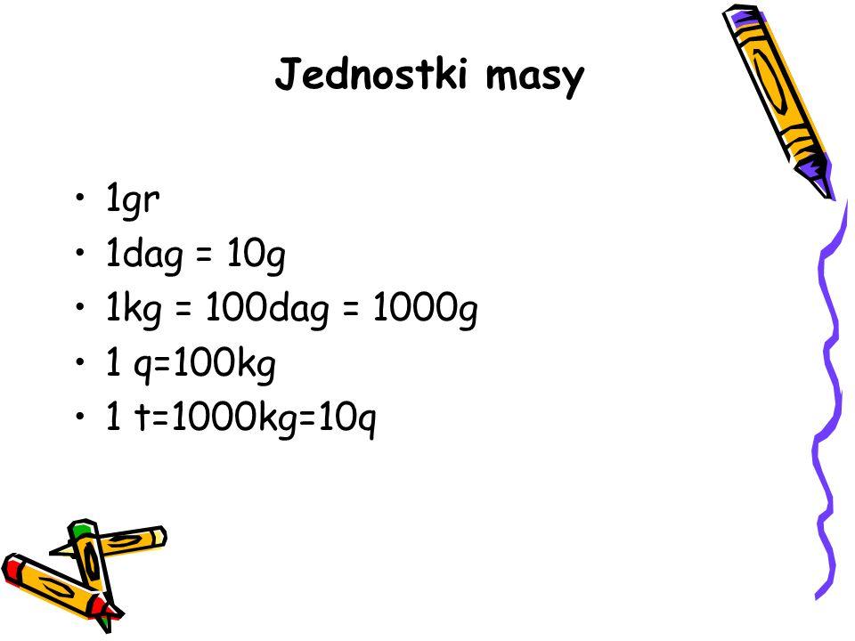 1gr 1dag = 10g 1kg = 100dag = 1000g 1 q=100kg 1 t=1000kg=10q Jednostki masy
