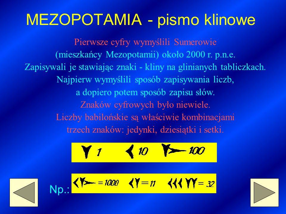 MEZOPOTAMIA - pismo klinowe Pierwsze cyfry wymyślili Sumerowie (mieszkańcy Mezopotamii) około 2000 r.