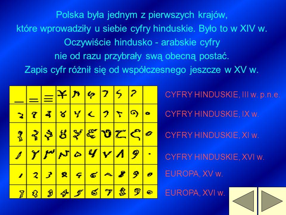 CYFRY ARABSKIE Cyfry, którymi posługujemy się obecnie, pochodzą od Hindusów. Na teren Europy przenieśli je Arabowie, dlatego nazywamy je cyframi arabs
