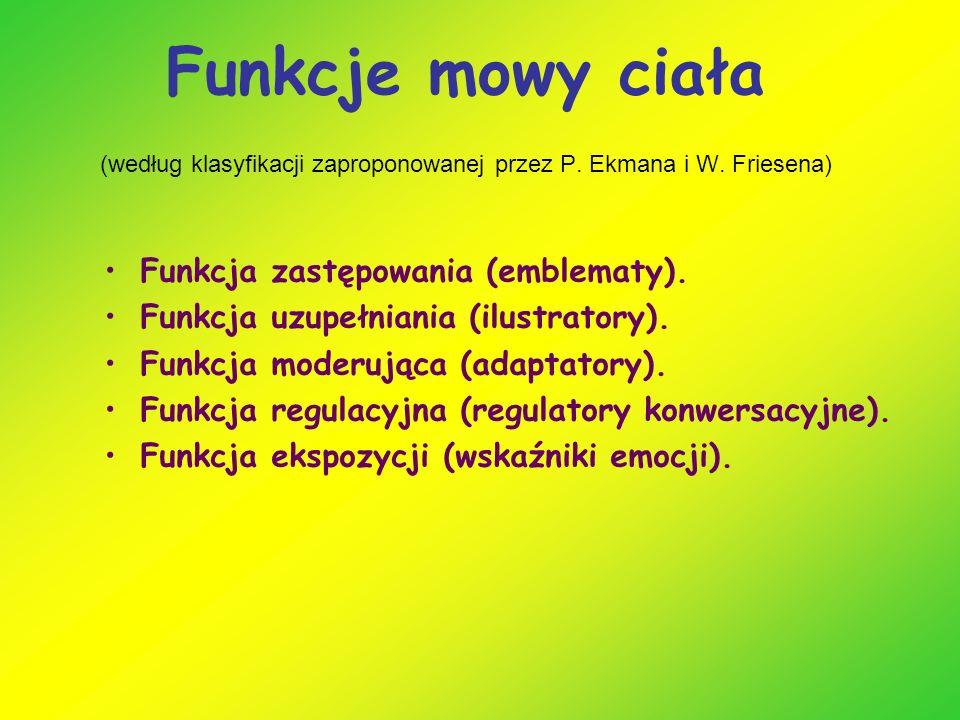 Funkcje mowy ciała (według klasyfikacji zaproponowanej przez P.