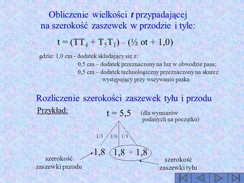 Rozliczenie szerokości zaszewek tyłu i przodu t = 5,5 1/3 1,8 szerokość zaszewki przodu + szerokość zaszewki tyłu Przykład: Obliczenie wielkości t prz