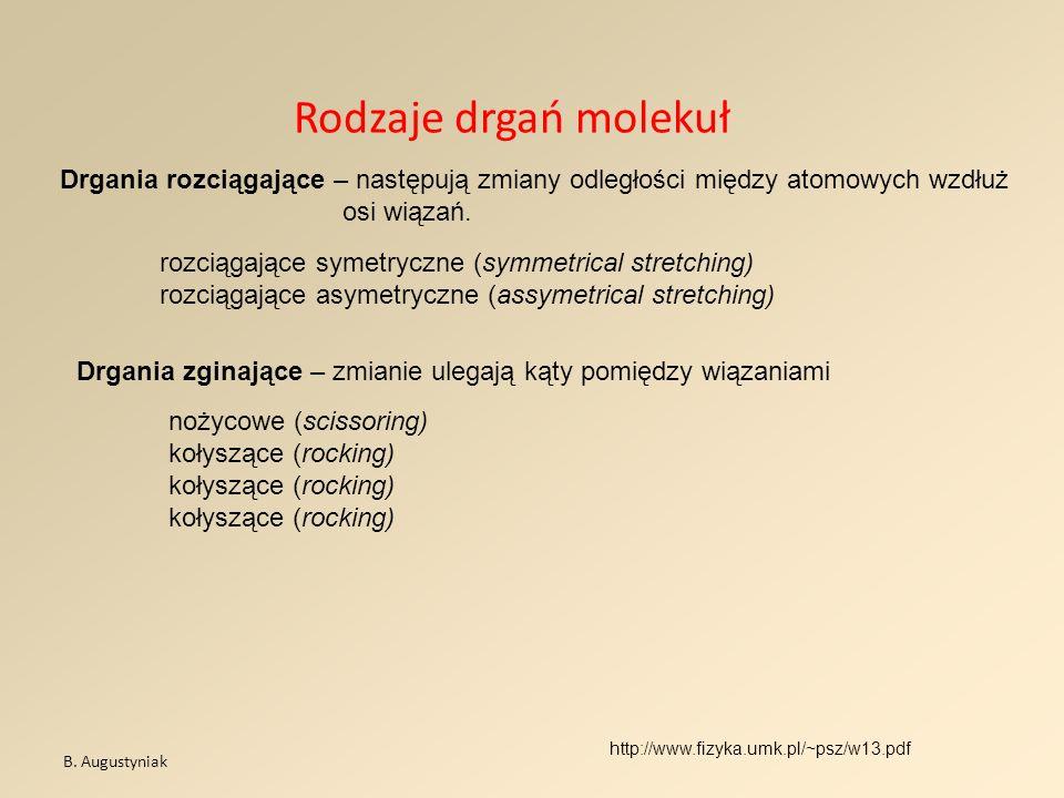 Rodzaje drgań molekuł B. Augustyniak http://www.fizyka.umk.pl/~psz/w13.pdf Drgania rozciągające – następują zmiany odległości między atomowych wzdłuż