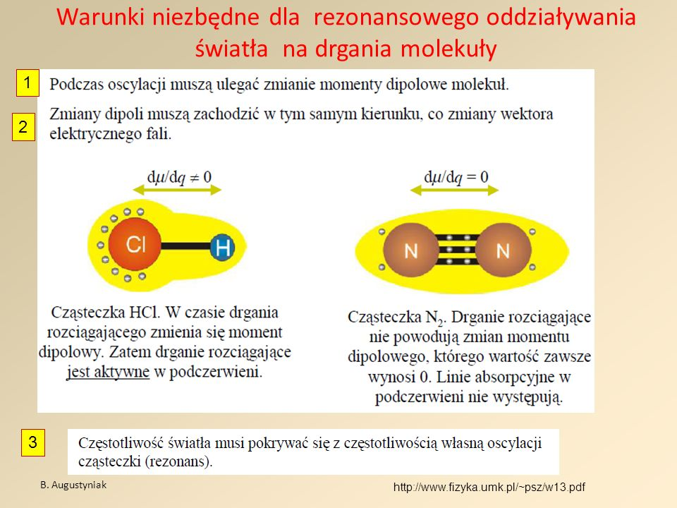 Warunki niezbędne dla rezonansowego oddziaływania światła na drgania molekuły B. Augustyniak http://www.fizyka.umk.pl/~psz/w13.pdf 1 3 2