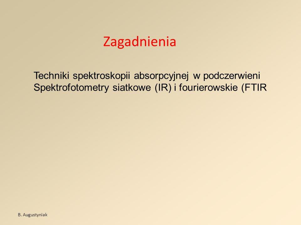 Zagadnienia B. Augustyniak Techniki spektroskopii absorpcyjnej w podczerwieni Spektrofotometry siatkowe (IR) i fourierowskie (FTIR
