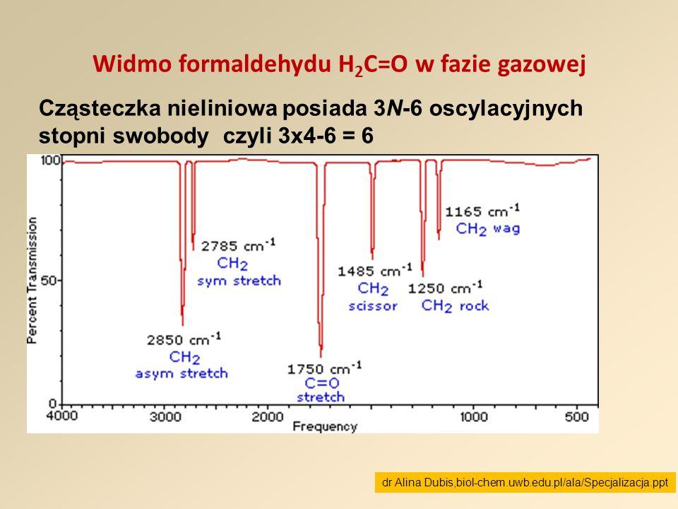 Widmo formaldehydu H 2 C=O w fazie gazowej Cząsteczka nieliniowa posiada 3N-6 oscylacyjnych stopni swobody czyli 3x4-6 = 6 dr Alina Dubis,biol-chem.uw