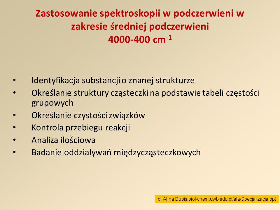 Zastosowanie spektroskopii w podczerwieni w zakresie średniej podczerwieni 4000-400 cm -1 Identyfikacja substancji o znanej strukturze Określanie stru