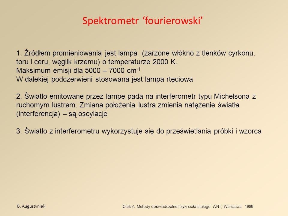 Spektrometr fourierowski B. Augustyniak Oleś A. Metody doświadczalne fizyki ciała stałego, WNT, Warszawa, 1998 1. Źródłem promieniowania jest lampa (ż