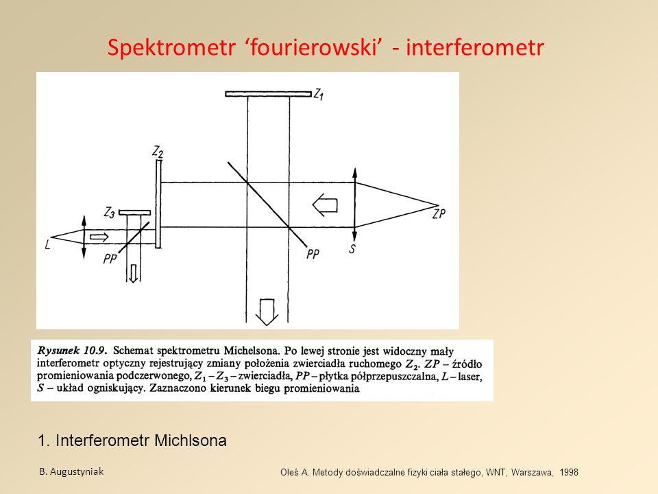 Spektrometr fourierowski - interferometr B. Augustyniak Oleś A. Metody doświadczalne fizyki ciała stałego, WNT, Warszawa, 1998 1. Interferometr Michls