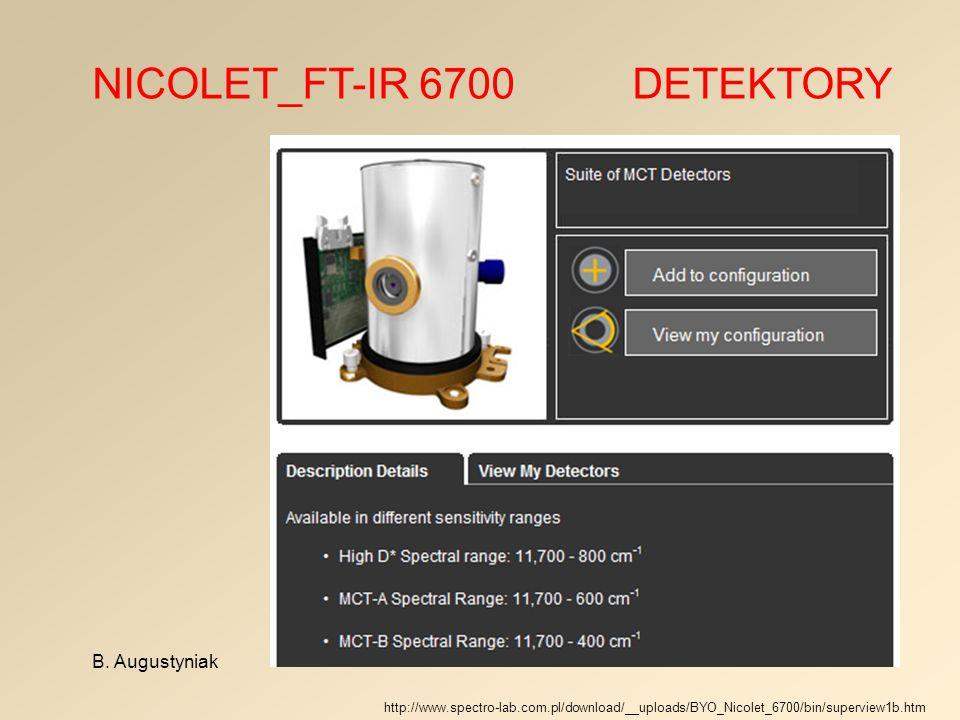 NICOLET_FT-IR 6700 DETEKTORY B. Augustyniak http://www.spectro-lab.com.pl/download/__uploads/BYO_Nicolet_6700/bin/superview1b.htm