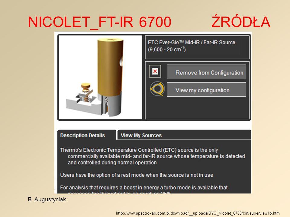 NICOLET_FT-IR 6700 ŹRÓDŁA B. Augustyniak http://www.spectro-lab.com.pl/download/__uploads/BYO_Nicolet_6700/bin/superview1b.htm