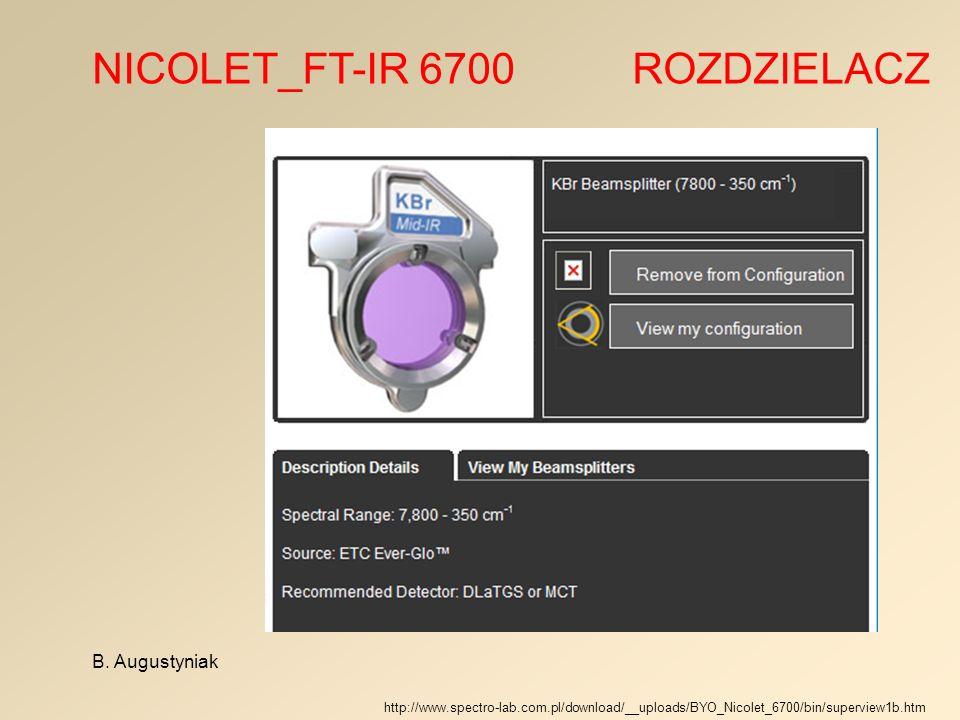 NICOLET_FT-IR 6700 ROZDZIELACZ B. Augustyniak http://www.spectro-lab.com.pl/download/__uploads/BYO_Nicolet_6700/bin/superview1b.htm