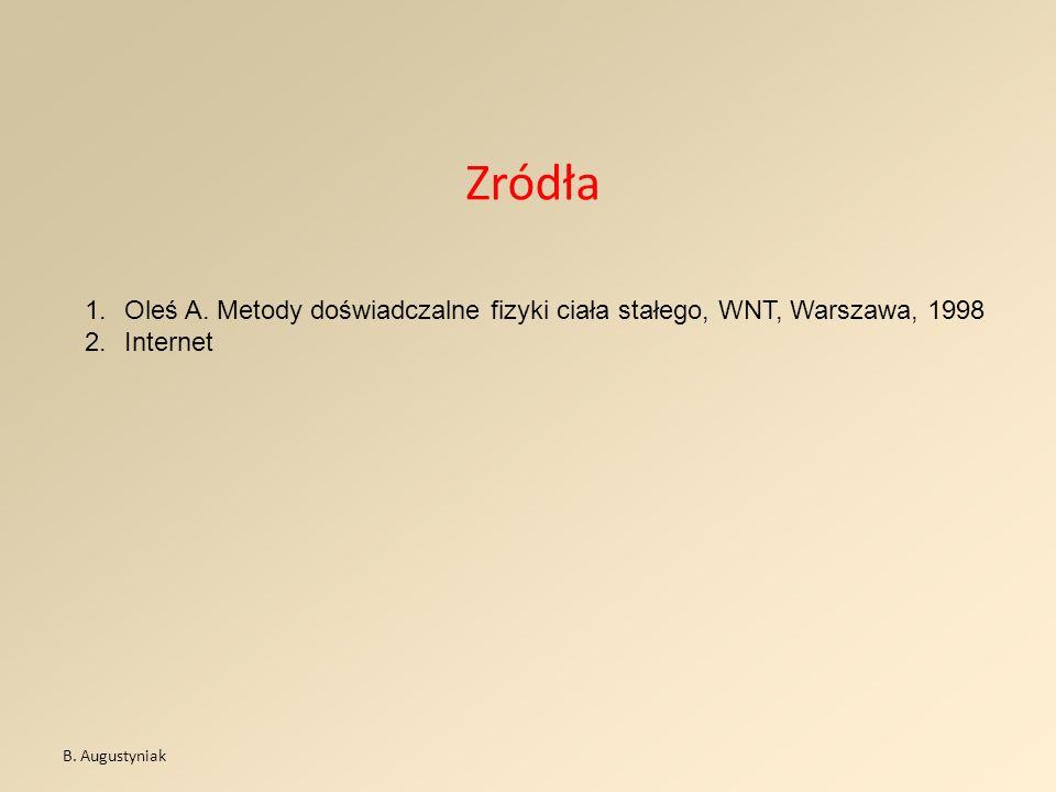 Zródła 1.Oleś A. Metody doświadczalne fizyki ciała stałego, WNT, Warszawa, 1998 2.Internet B. Augustyniak