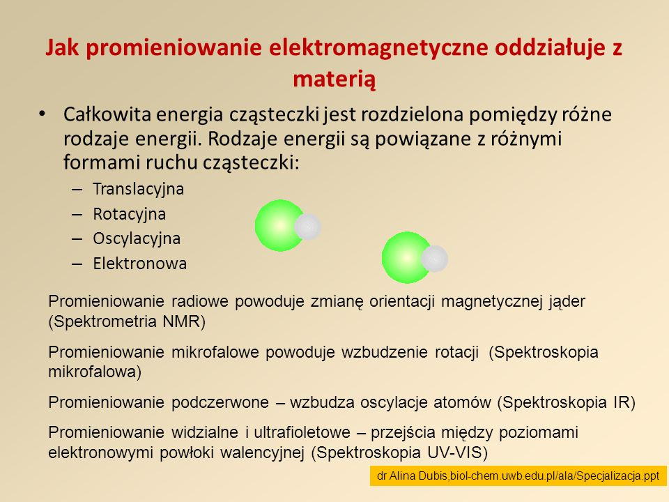 Jak promieniowanie elektromagnetyczne oddziałuje z materią Całkowita energia cząsteczki jest rozdzielona pomiędzy różne rodzaje energii. Rodzaje energ