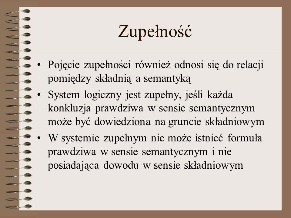 Zupełność Pojęcie zupełności również odnosi się do relacji pomiędzy składnią a semantyką System logiczny jest zupełny, jeśli każda konkluzja prawdziwa