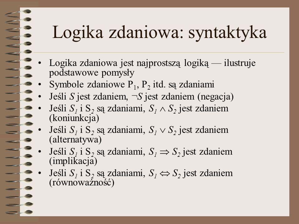 Logika zdaniowa: syntaktyka Logika zdaniowa jest najprostszą logiką ilustruje podstawowe pomysły Symbole zdaniowe P 1, P 2 itd. są zdaniami Jeśli S je