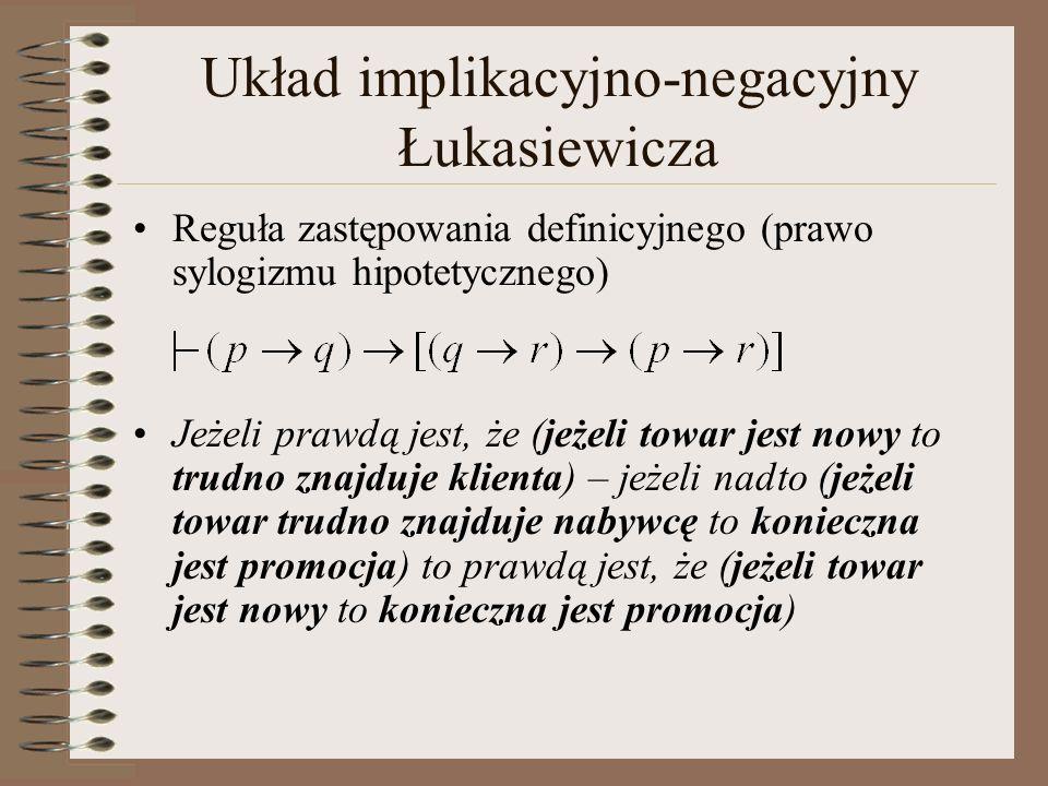 Układ implikacyjno-negacyjny Łukasiewicza Reguła zastępowania definicyjnego (prawo sylogizmu hipotetycznego) Jeżeli prawdą jest, że (jeżeli towar jest