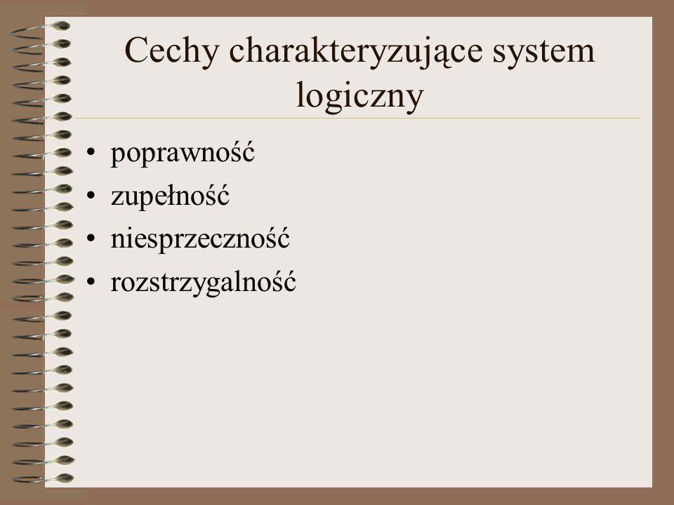 Poprawność Pojęcie poprawności odnosi się do relacji pomiędzy składnią a semantyką systemu logicznego System jest poprawny jeśli każda konkluzja posiadająca dowód w sensie składniowym jest prawdziwa w sensie semantycznym W systemie poprawnym każda formuła, którą potrafimy dowieść manipulując na symbolach i wykorzystując aksjomaty teorii jest prawdą w sensie semantycznym, tj.