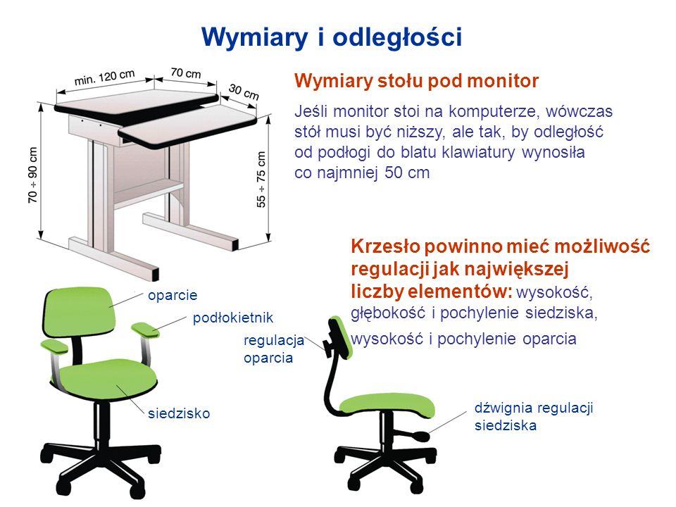 Wymiary i odległości Wymiary stołu pod monitor Jeśli monitor stoi na komputerze, wówczas stół musi być niższy, ale tak, by odległość od podłogi do bla