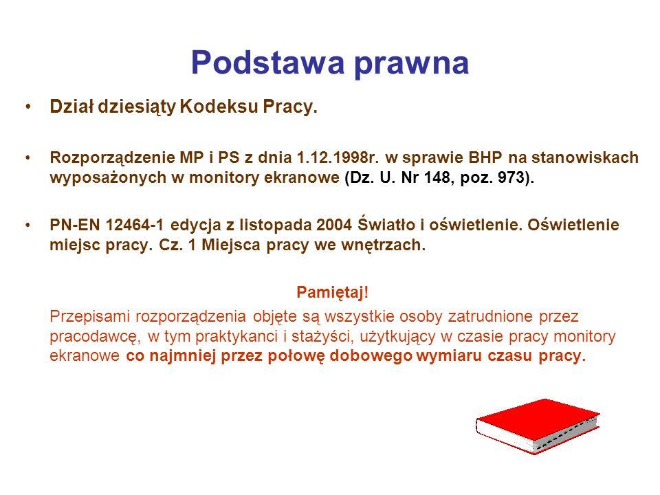 Podstawa prawna Dział dziesiąty Kodeksu Pracy. Rozporządzenie MP i PS z dnia 1.12.1998r. w sprawie BHP na stanowiskach wyposażonych w monitory ekranow