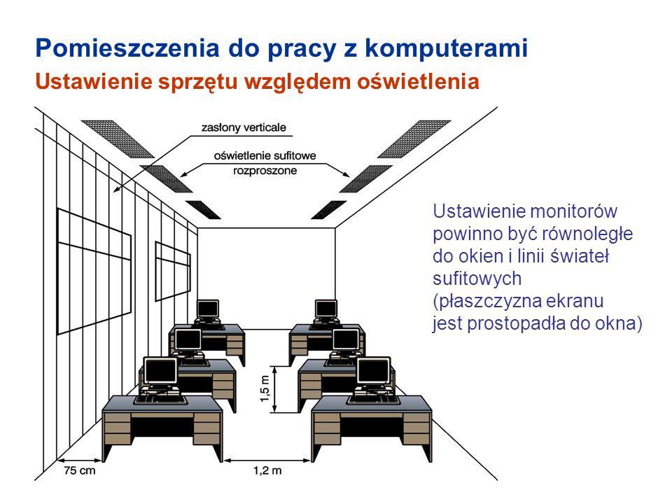 Oświetlenie Oświetlenie powinno zapewniać komfort pracy wzrokowej : poziom natężenia oświetlenia powinien spełniać wymagania określone w Polskich Normach, należy ograniczyć olśnienie bezpośrednie od opraw źródeł światła, okien, przeźroczystych lub półprzeźroczystych ścian albo jasnych płaszczyzn pomieszczenia oraz olśnienie odbiciowe od ekranu monitora przez stosowanie odpowiednich opraw oświetleniowych, instalowanie żaluzji lub zasłon w oknach.