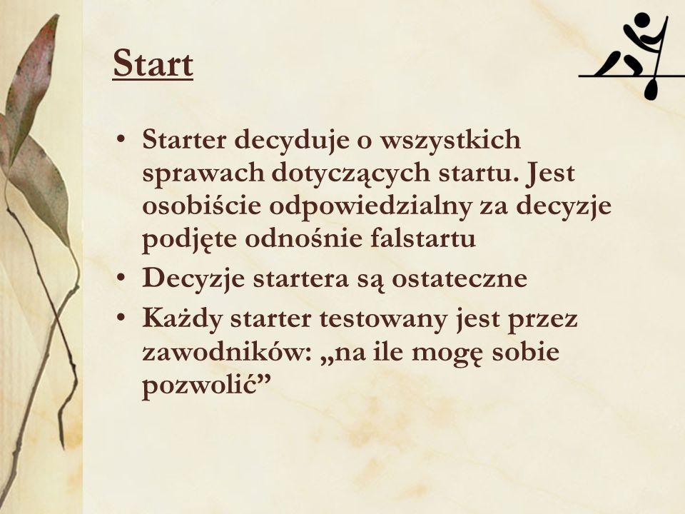 Start Starter decyduje o wszystkich sprawach dotyczących startu. Jest osobiście odpowiedzialny za decyzje podjęte odnośnie falstartu Decyzje startera