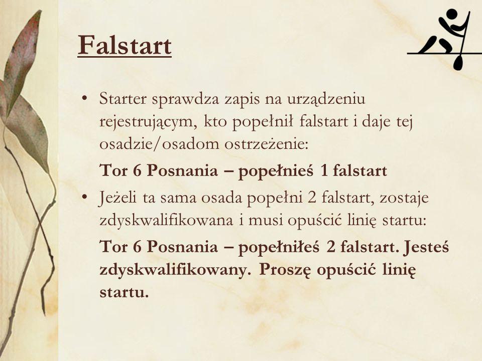 Falstart Starter sprawdza zapis na urządzeniu rejestrującym, kto popełnił falstart i daje tej osadzie/osadom ostrzeżenie: Tor 6 Posnania – popełnieś 1 falstart Jeżeli ta sama osada popełni 2 falstart, zostaje zdyskwalifikowana i musi opuścić linię startu: Tor 6 Posnania – popełniłeś 2 falstart.