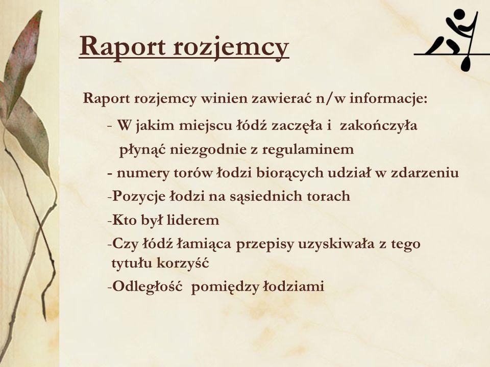 Raport rozjemcy Raport rozjemcy winien zawierać n/w informacje: - W jakim miejscu łódź zaczęła i zakończyła płynąć niezgodnie z regulaminem - numery t