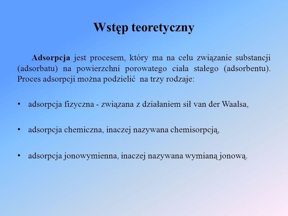 Wstęp teoretyczny Adsorpcja jest procesem, który ma na celu związanie substancji (adsorbatu) na powierzchni porowatego ciała stałego (adsorbentu). Pro