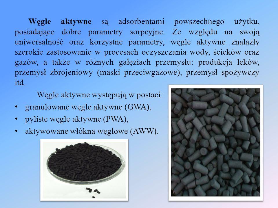 Węgle aktywne są adsorbentami powszechnego użytku, posiadające dobre parametry sorpcyjne. Ze względu na swoją uniwersalność oraz korzystne parametry,