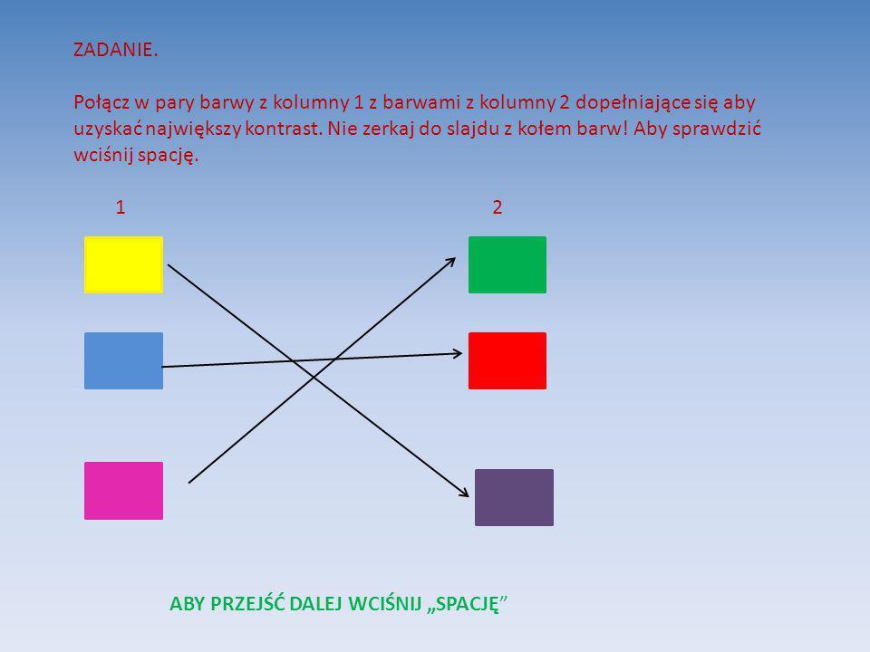 ZADANIE. Połącz w pary barwy z kolumny 1 z barwami z kolumny 2 dopełniające się aby uzyskać największy kontrast. Nie zerkaj do slajdu z kołem barw! Ab