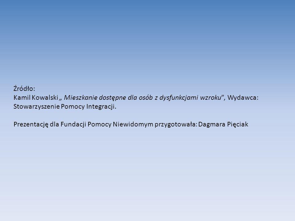 Źródło: Kamil Kowalski Mieszkanie dostępne dla osób z dysfunkcjami wzroku, Wydawca: Stowarzyszenie Pomocy Integracji. Prezentację dla Fundacji Pomocy