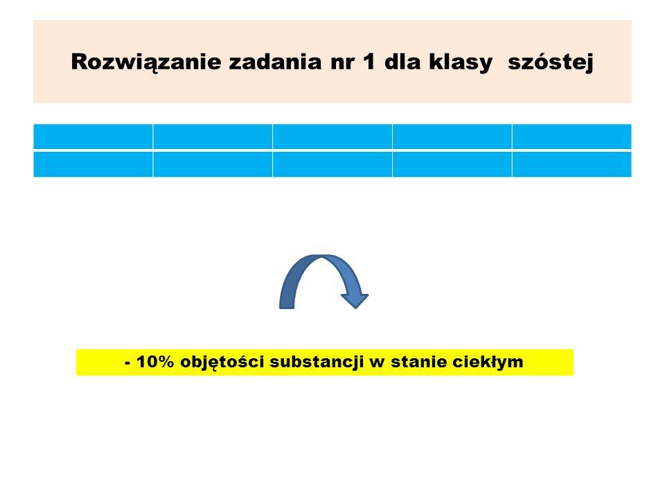 Rozwiązanie zadania nr 1 dla klasy szóstej - 10% objętości substancji w stanie ciekłym