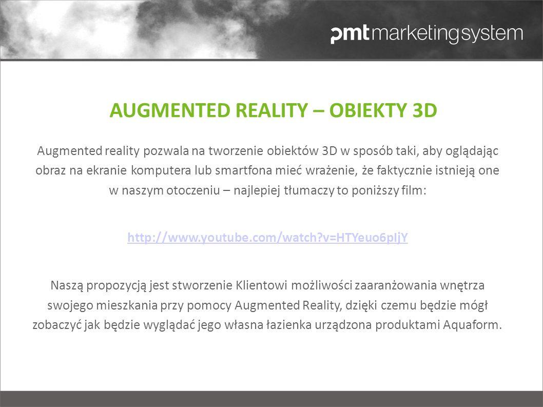 Augmented reality pozwala na tworzenie obiektów 3D w sposób taki, aby oglądając obraz na ekranie komputera lub smartfona mieć wrażenie, że faktycznie istnieją one w naszym otoczeniu – najlepiej tłumaczy to poniższy film: http://www.youtube.com/watch?v=HTYeuo6pIjY Naszą propozycją jest stworzenie Klientowi możliwości zaaranżowania wnętrza swojego mieszkania przy pomocy Augmented Reality, dzięki czemu będzie mógł zobaczyć jak będzie wyglądać jego własna łazienka urządzona produktami Aquaform.